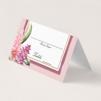 Tropical Floral Orchid Purple Pink Table Number Place Card