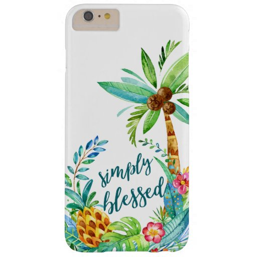 Tropical Floral Palm Blessed Inspirational Girly Barely There iPhone 6 Plus Case