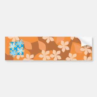 Tropical Floral Pattern Blue and Orange Bumper Stickers
