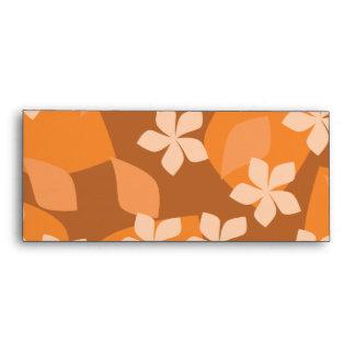 Tropical Floral Pattern. Blue and Orange. Envelope