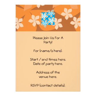 Tropical Floral Pattern. Blue and Orange. Personalized Invitations