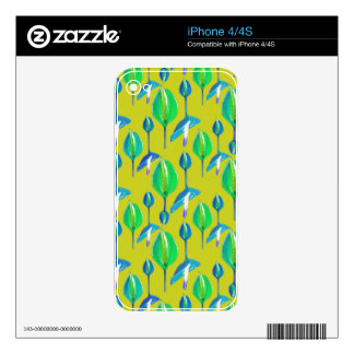 Tropical Floral Pattern Skins For The iPhone 4