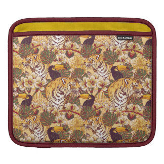 Tropical Floral Pattern With Tiger iPad Sleeve