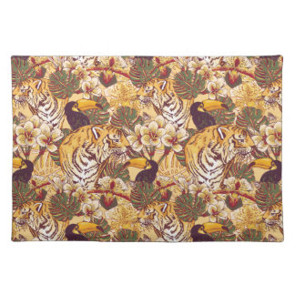 Tropical Floral Pattern With Tiger Place Mat