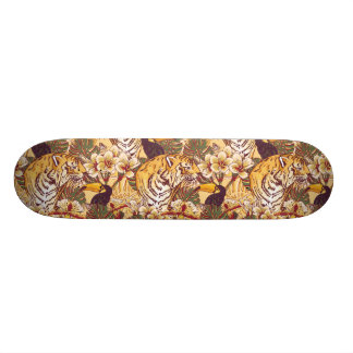 Tropical Floral Pattern With Tiger Skateboard