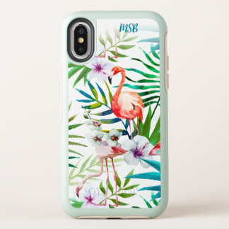 Tropical Floral Pink Flamingo Custom Monogram OtterBox Symmetry iPhone X Case