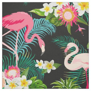 Beach Themed Tropical Floral Pink Flamingos Pattern Fabric