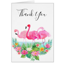 Tropical Floral Pink Flamingos Thank You