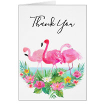 Tropical Floral Pink Flamingos Thank You Card
