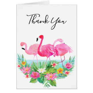 Tropical Floral Pink Flamingos Thank You Card