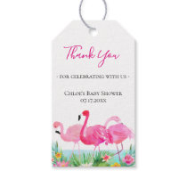 Tropical Floral Pink Flamingos Thank You Gift Tags