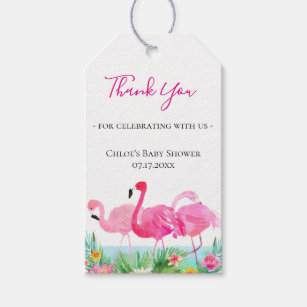 Tropical Fl Pink Flamingos Thank You Gift Tags