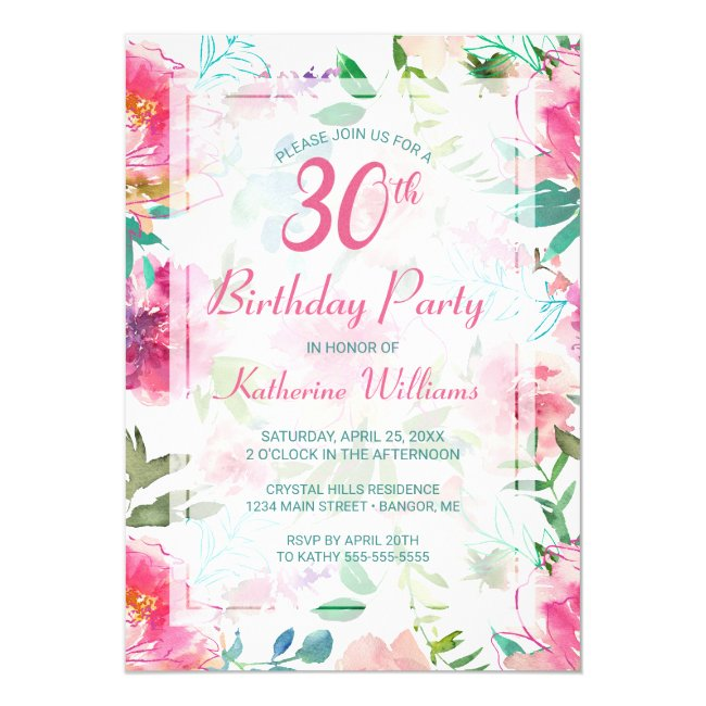 Tropical Floral Pink Peony 30th Birthday Party Invitation