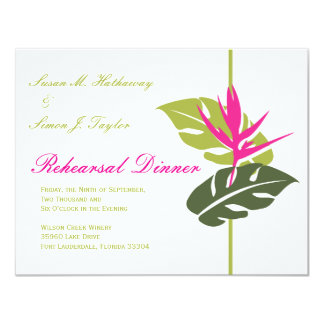 Tropical Floral Rehearsal Dinner Invitation - Gree