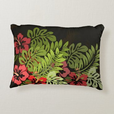 Beach Themed Tropical Floral Retro Graphic Art Print Pillow