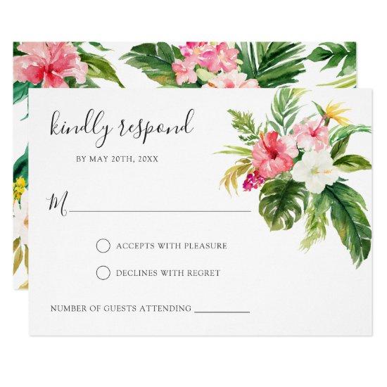 Tropical Floral RSVP Respond Card