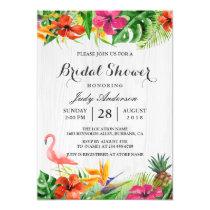 Tropical Floral Rustic Wood Flamingo Bridal Shower Invitation