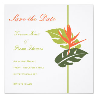 Tropical Floral Save the Date Personalized Invites
