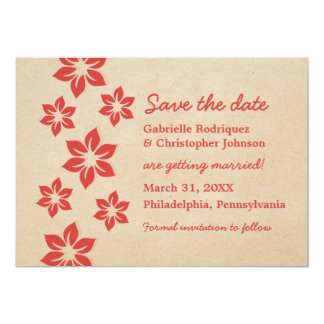 Tropical Floral Save the Date Invite, Red