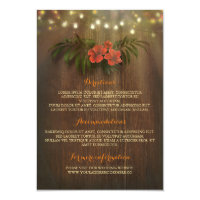 Tropical Floral String Lights Beach Wedding Insert Card