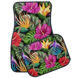 Tropical Floral Summer Mood Pattern Car Floor Mat