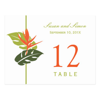 Tropical Floral Table Number Card   Green & Orange
