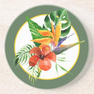 Tropical Floral Watercolor Bird of Paradise Coaster