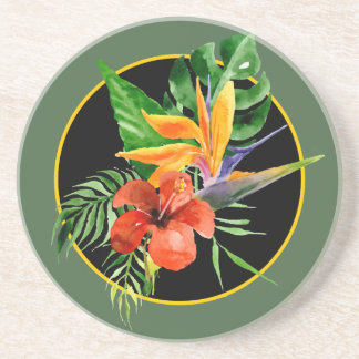 Tropical Floral Watercolor Bird of Paradise Drink Coaster
