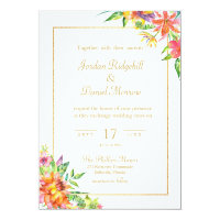 Tropical Floral Watercolor Chic Summer Wedding Invitation