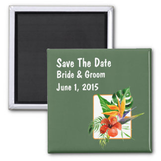 Tropical Floral Watercolor Save The Date Magnet