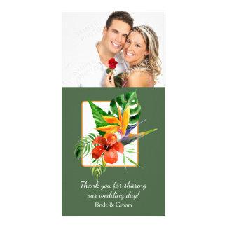 Tropical Floral Watercolor Wedding Card