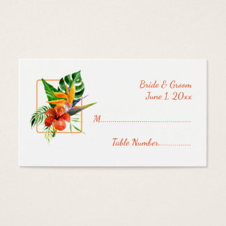 Tropical Floral Watercolor Wedding Place Cards