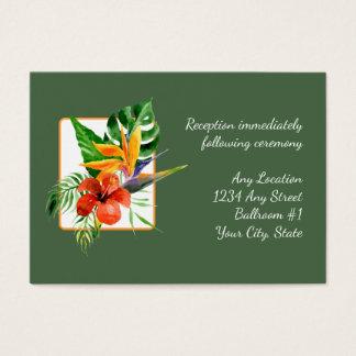 Tropical Floral Watercolor Wedding Reception Cards