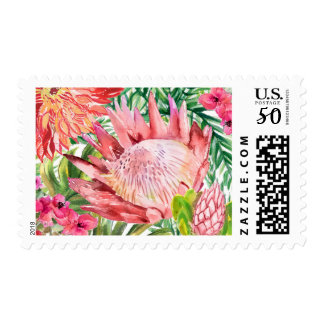 Tropical Floral Wedding Stamp