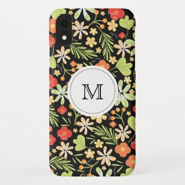 Tropical floral with monogram iPhone XR case