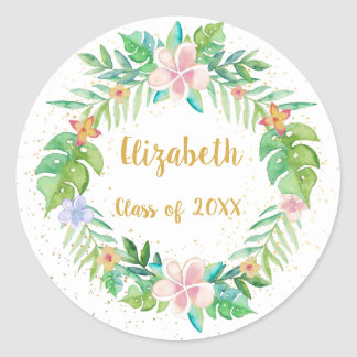 Tropical Floral Wreath Classic Round Sticker