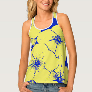 Tropical Floral Yellow Blue Tank Top