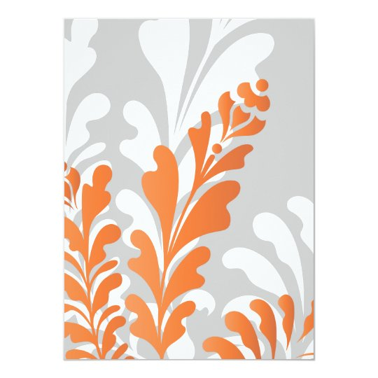 Tropical Florals Orange, White & Gray Customizable Card