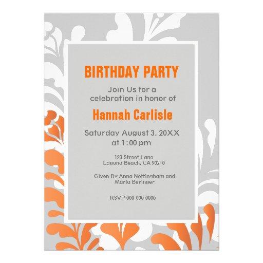 Tropical Florals Orange, White & Gray Customizable Invite