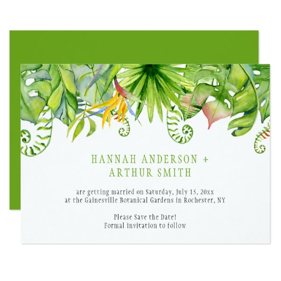 Tropical Florals Save The Date Invitations |