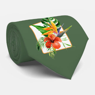 Tropical Florals Watercolor Wedding Tie