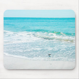 Tropical Florida Beach Sand Ocean Waves Sandpiper Mouse Pad
