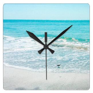 Tropical Florida Beach Sand Ocean Waves Sandpiper Square Wall Clock