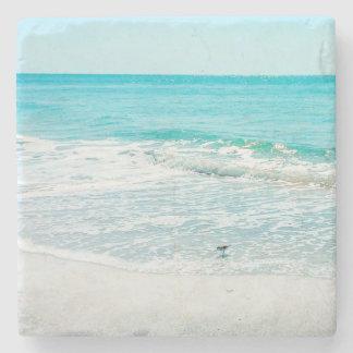 Tropical Florida Beach Sand Ocean Waves Sandpiper Stone Coaster