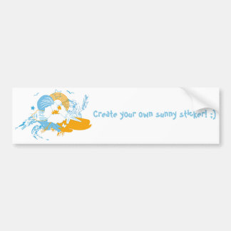 Tropical flower and seashell summer illustration bumper sticker