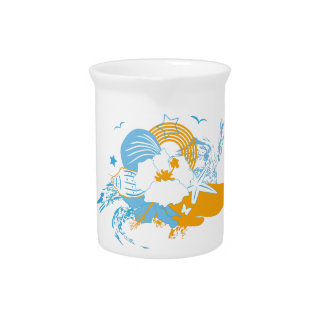 Tropical flower and seashell summer illustration drink pitcher