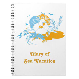 Tropical flower and seashell summer illustration spiral notebook