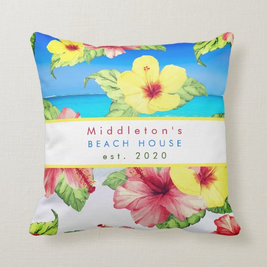Tropical Flower  Beach House Personal Family Throw Pillow