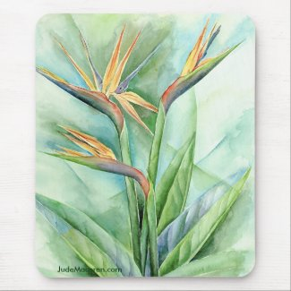 Tropical Bird Painting on Tropical Flower Bird Of Paradise Painting   Multi Mouse Pad By