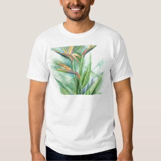 Tropical Flower Bird Of Paradise Painting - Multi T Shirt